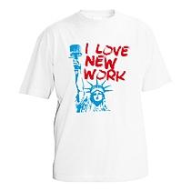 Chlapčenské bavlnené tričko s krátkymi rukávmi biele s červeným nápisom I love new work podľa I love New York a bledo modrou potlačou sochy slobody