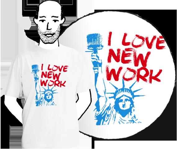 Biele pánske tričko s krátkymi rukávmi s bledo modrou potlačou sochy slobody a červeným nápisom I love new work podľa I love New York z bavlny