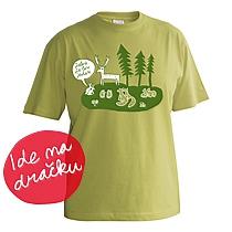 Veselé bledo zelené chlapčenské tričko s krátkymi rukávmi so zelenou potlačou lesa a zvieratami a bublinou nad zajacmi s textom Jeleň je len jeden z bavlny