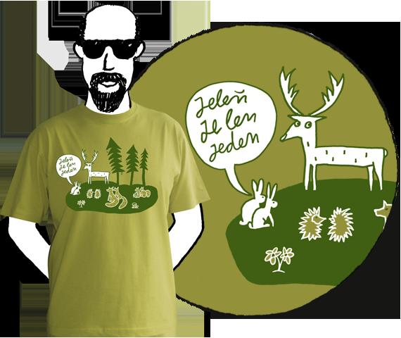 Bledo zelené bavlnené pánske tričko s krátkymi rukávmi a zelenou potlačou lesa s bielymi zvieratami a bublinou nad zajacmi s textom Jeleň je len jeden