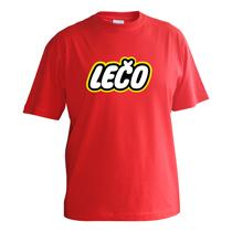 Chlapčenské bavlnené tričko červené s krátkymi rukávmi s nápisom Lečo napodobujúce logo výrobcu hračiek Lego
