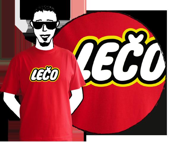 Červené bavlnené pánske tričko na leto s krátkymi rukávmi s nápisom Lečo pripomínajúce logo výrobcu hračiek Lego