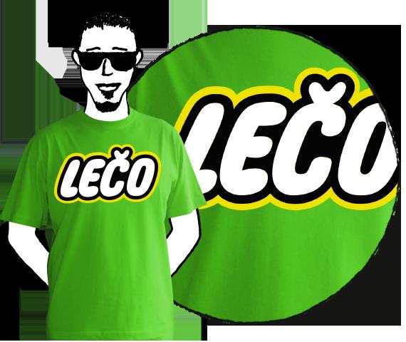 Zelené bavlnené tričko pre pánov s krátkymi rukávmi a nápisom Lečo pripomínajúce logo výrobcu hračiek Lego