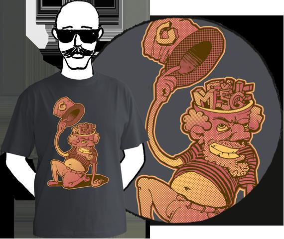 Tmavo sivé pánske tričko s krátkymi rukávmi a potlačou postavy, ktorá zdvihla klobúk a namiesto mozgu má na hlave písmená M E Š U G E z bavlny