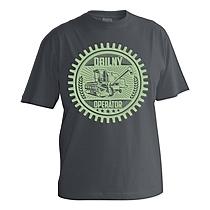 Chlapčenské bavlnené tričko tmavo sivé s krátkymi rukávmi s potlačou ozubeného kolesa v ktorom sa nachádza kombajn a nápis obilný operátor