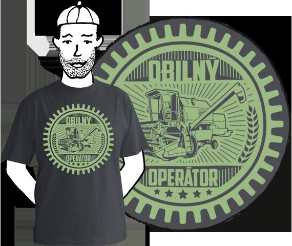Tmavo sivé pánske tričko s krátkymi rukávmi s potlačou ozubeného kolesa v ktorom je kombajn a nápis obilný operátor z bavlny