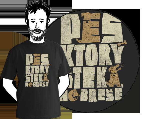 Čierne bavlnené pánske tričko s krátkymi rukávmi s nápisom pes, ktorý šteká nebreše
