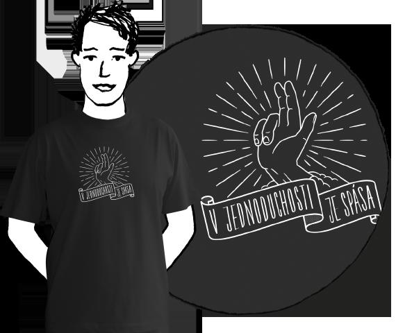 Čierne pánske tričko s krátkymi rukávmi z bavlny s potlačou požehnávajúcej ruky a nápisom v jednoduchosti je spása.