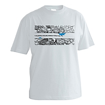 Bavlnené svetlo sivé chlapčenské tričko s krátkymi rukávmi s potlačou mrakodrapov z výšky ktoré rozdelujé nápis V hlbokej doline srnka vodu pije z bavlny