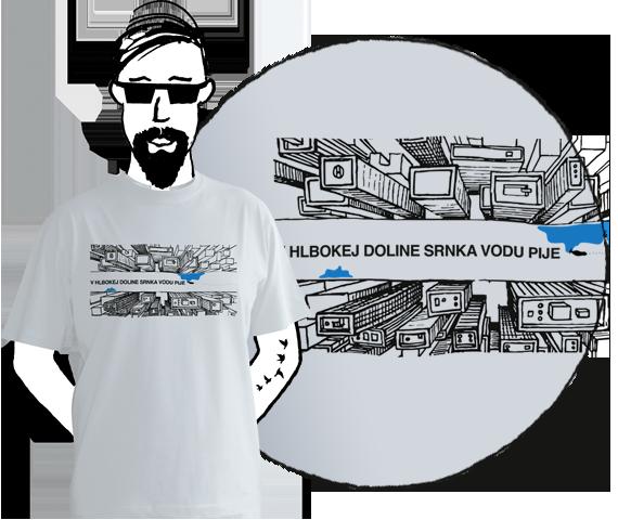 Svetlo sivé pánske tričko s krátkymi rukávmi s potlačou mrakodrapov z výšky medzi ktorými je široká ulica s nápisom V hlbokej doline srnka vodu pije
