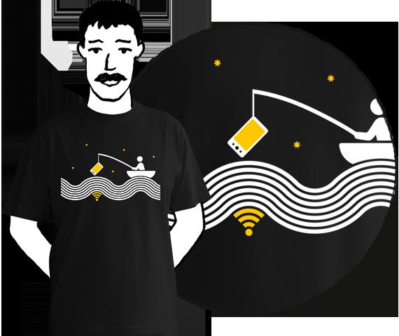 Čierne bavlnené pánske tričko s krátkymi rukávmi s potlačou človeka na loďke chytajúceho wifi na vode pri hviezdach s udicou na ktorej má mobil