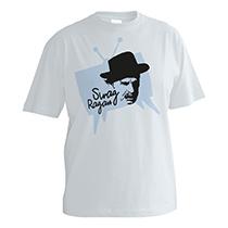 Veselé sivé chlapčenské tričko s krátkymi rukávmi a s bledo modrou potlačou televízie s čiernym obrazom Jozefa Kronera a nápisom Swag Ragan z bavlny