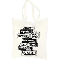 Piesková plátená taška na nákupy i na pláž s potlačou s kockami kde sú texty ako krám, šepleta, zbožie, taľafatka, kus, daromnica, rároha, akcia