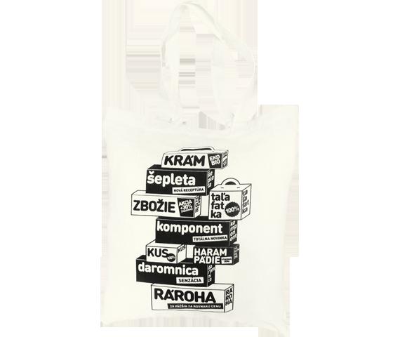 Plátená taška pieskovej farby na pláž i nákupy s potlačou s kockami na ktorých sú texty krám, šepleta, zbožie, taľafatka, kus, daromnica, rároha, akcia