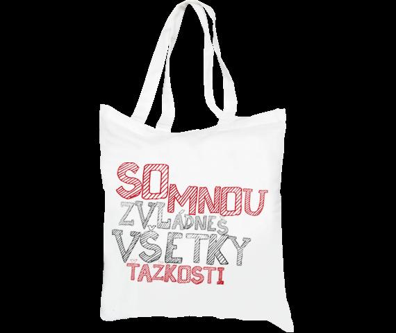 Plátená taška biela na pláž i nákupy s pásikovým textom so mnou zvládneš všetky ťažkosti