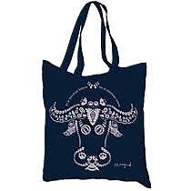 Tmavo modrá plátená taška na nákupy i na pláž s folklórnym motívom hlavy vola