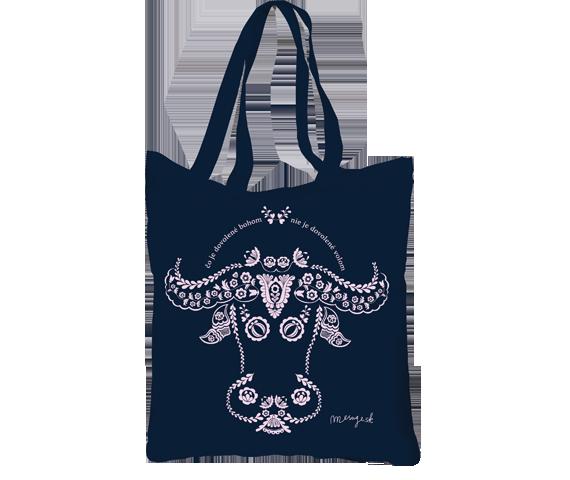 Plátená taška tmavo modrá na pláž i na nákupy s bielym ľudovým motívom hlavy vola
